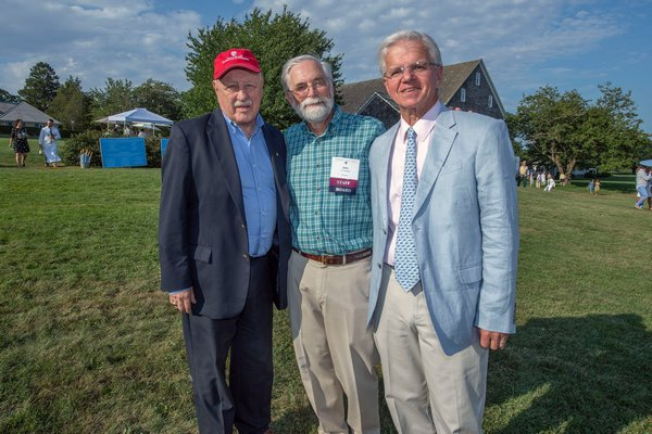 State Senator Kenneth LaValle, Peconic Land Trust President John v.H. Halsey and New York State Assemblyman Fred Thiele during the annual Peconic Land Trust Gala at the Ocean View Farm in Bridgehampton on Sunday evening.