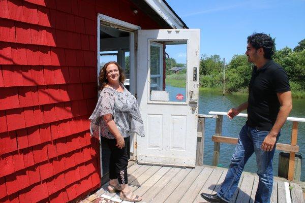 Donna Lanzetta and Ryunoske Jesse Matsuoka on the deck outside their new restaurant Manna. PEGGY SPELLMAN HOEY