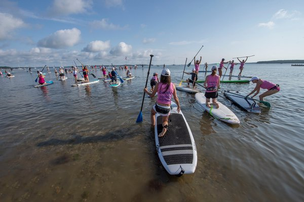Paddlers make their way to the starting line during the annual Paddle for Pink at Havens Beach on Saturday morning.