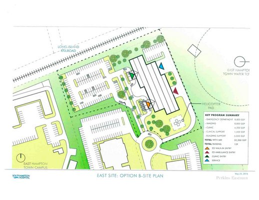Stony Brook-Southampton Hospital has submitted several possible designs for the planned new emergency room on Pantigo Road in East Hampton.