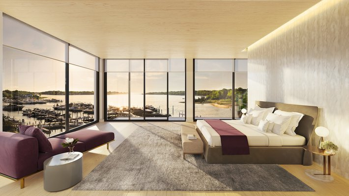 A rendering of the master bedroom in Residence C.