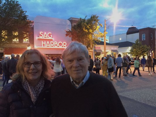 Chris Hegedus and DA Pennebaker at the re-lighting of the Sag Harbor Cinema sign.
