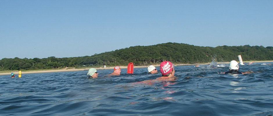 After a warmup swim, the group does a series of short sprints around a triangular course.