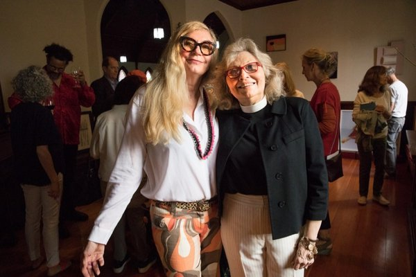 "Teri Hackett and Reverend Karen Campbell at the opening of ""Divine Intervention"" at Christ Episcopal Church on Saturday, June 1."