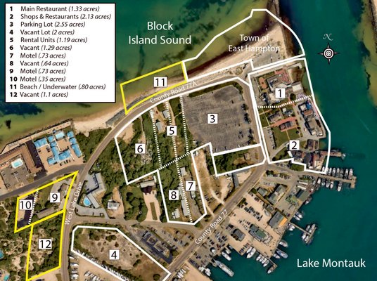 The Gosmans have already sold four properties, highlighted in yellow, to corporations owned by Merkourious Angeliades, and have signed a memorandum of lease for all nine other properties, including the Gosman's Dock complex.