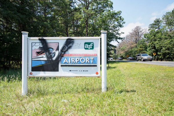 The latest version of a familar tag on the East Hampton Airport sign off Route 114.