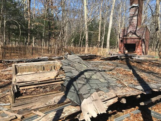The debris from the 50-year-old cabin. The fireplace was still in-tact.  COURTESY LUCIA IBRAHIM