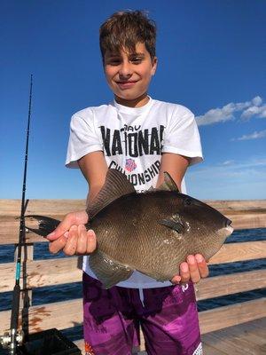 Sasha Mermelstein and a triggerfish from the Ponquogue Bridge.