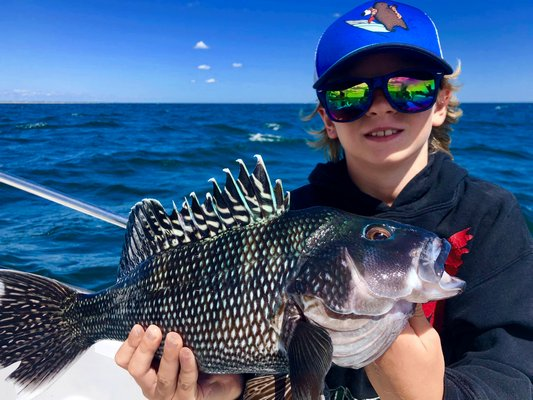 Finding a few keeper black sea bass, like this one Jake Calloway caught last week, is a key to filling the cooler off Shinnecock these days since the number of keeper fluke has faded considerably.