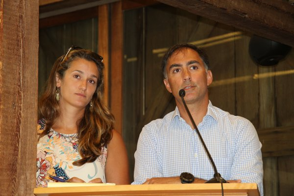 Melissa Winslow and Chris Clapp presented the Town Board with recommended changes to the town's septic replacement program on Tuesday.