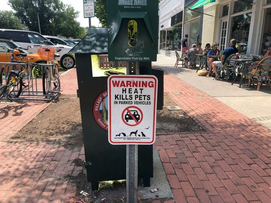 Signs posted in the Southampton town warn civilians not to leave their pets in the heat.