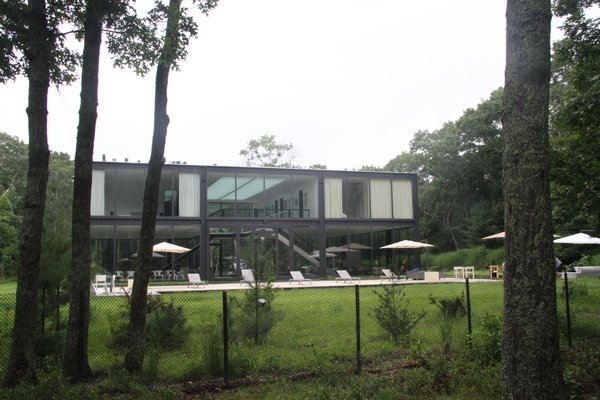 The glass-walled house at 145 Neck Path.