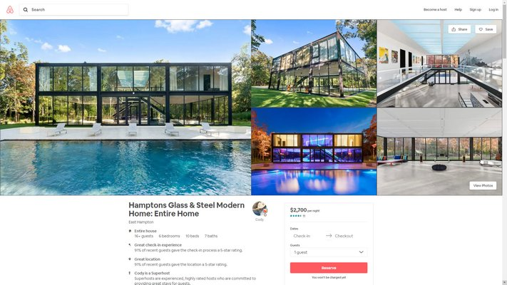 The Airbnb listing for 145 Neck Path advertises accomodations for up to 20 guests at $2,700 per night.
