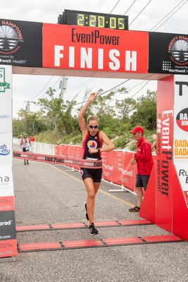 Hallee Foster of New York City was the female champion of the Mighty Hamptons Triathlon.