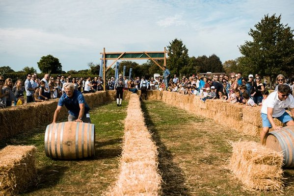 Barrel rolling at Wolffer Harvest Party.