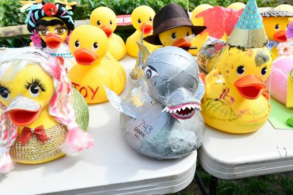 Decorated ducks.
