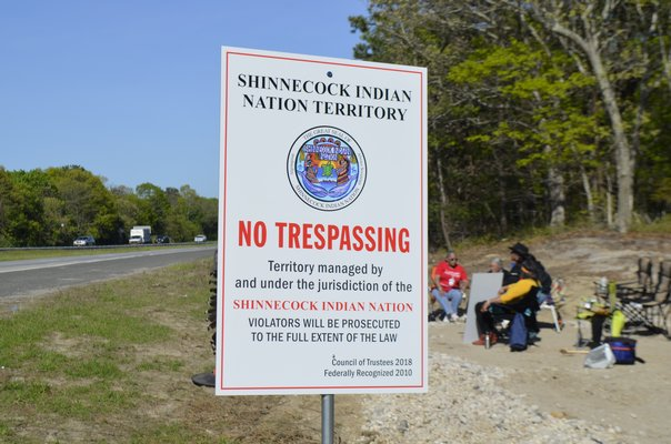 Official Shinnecock Indian Nation signs say