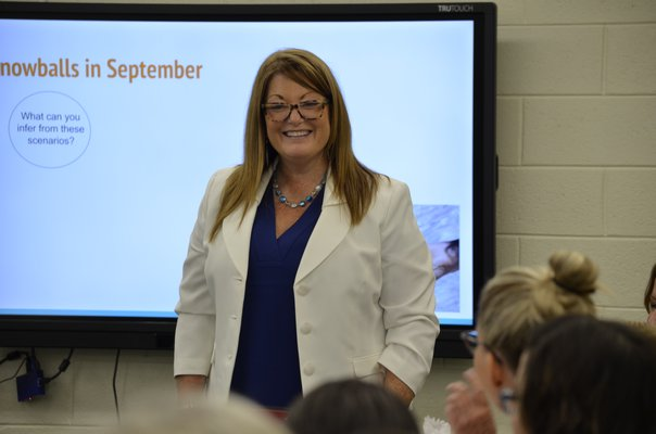Denise Sullivan at Remsenburg-Speonk's Superintendent Conference Day on Tuesday. ANISAH ABDULLAH