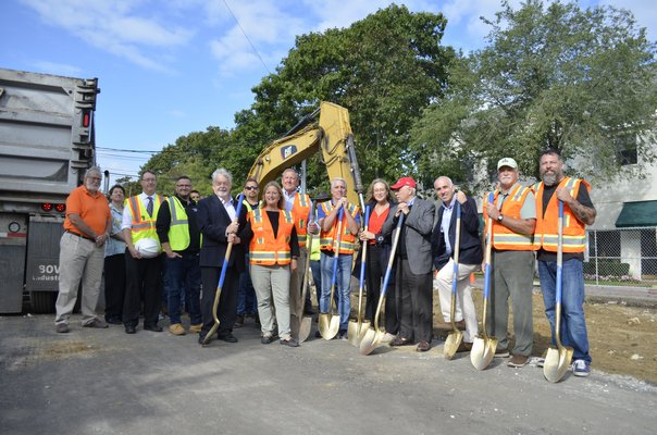 Many officials were present for the groundbreaking ceremony of the Westhampton Beach Main Street reconstruction project Wednesday morning. ANISAH ABDULLAH