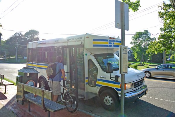 Recent statistics for the South Fork Commuter Connection — train service provided by the Long Island Rail Road to commuters in the Hamptons — show ridership has exceeded expectations since March, but ridership on the connecting shuttle buses has dropped when compared to a pilot program conducted 10 years ago when the bus was free.  PRESS FILE