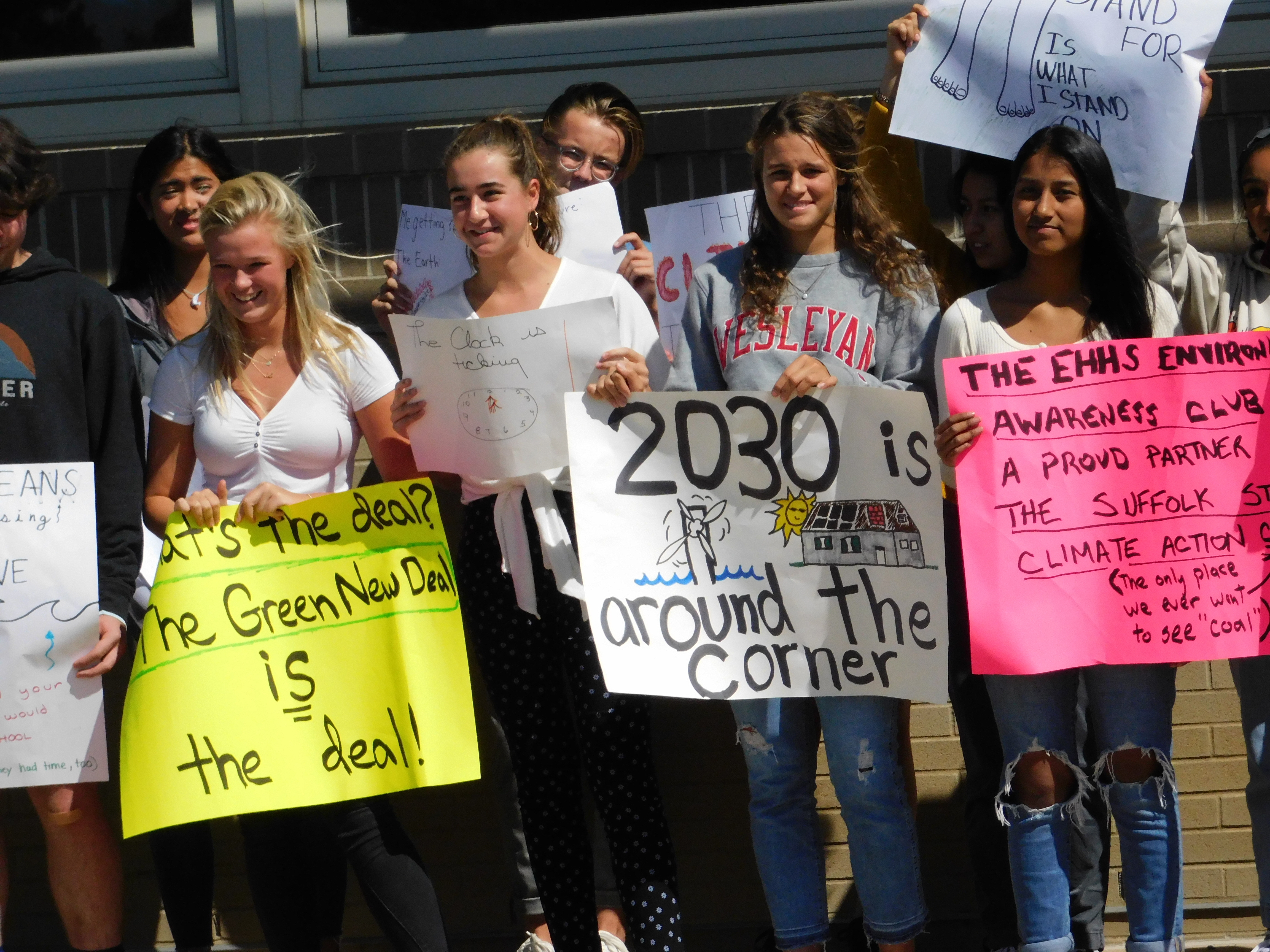 The East Hampton High School Environmental Awareness Club walked out of class on Friday afternoon in solidarity with major climate change strikes happening throughout the globe. ELIZABETH VESPE