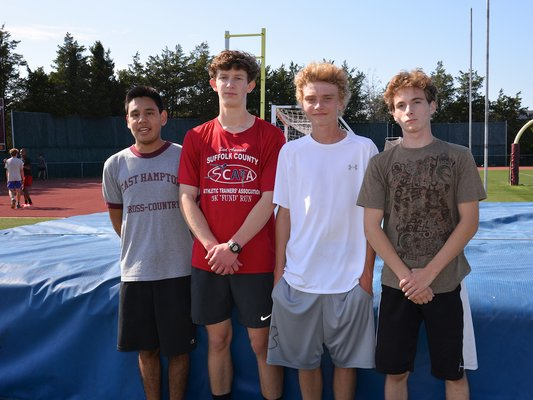 East Hampton seniors this season include, from left, Emilio Flores, Frank Bellucci, Henry Saar and Nic Villante.