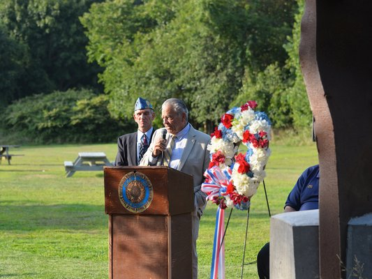 The East Hampton Sons of the American Legion dedicated a 9/11 memorial on the grounds of the American Legion Post in Amagansett on Wednesday. KYRIL BROMLEY