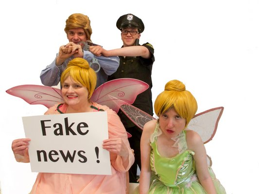 Front row, left Betsy Weinberger and Aurora Berty as fairies. Back row, Bill Gillis as Mr. Lump and Julian Garcia as a policeman in East End Special Players' production of