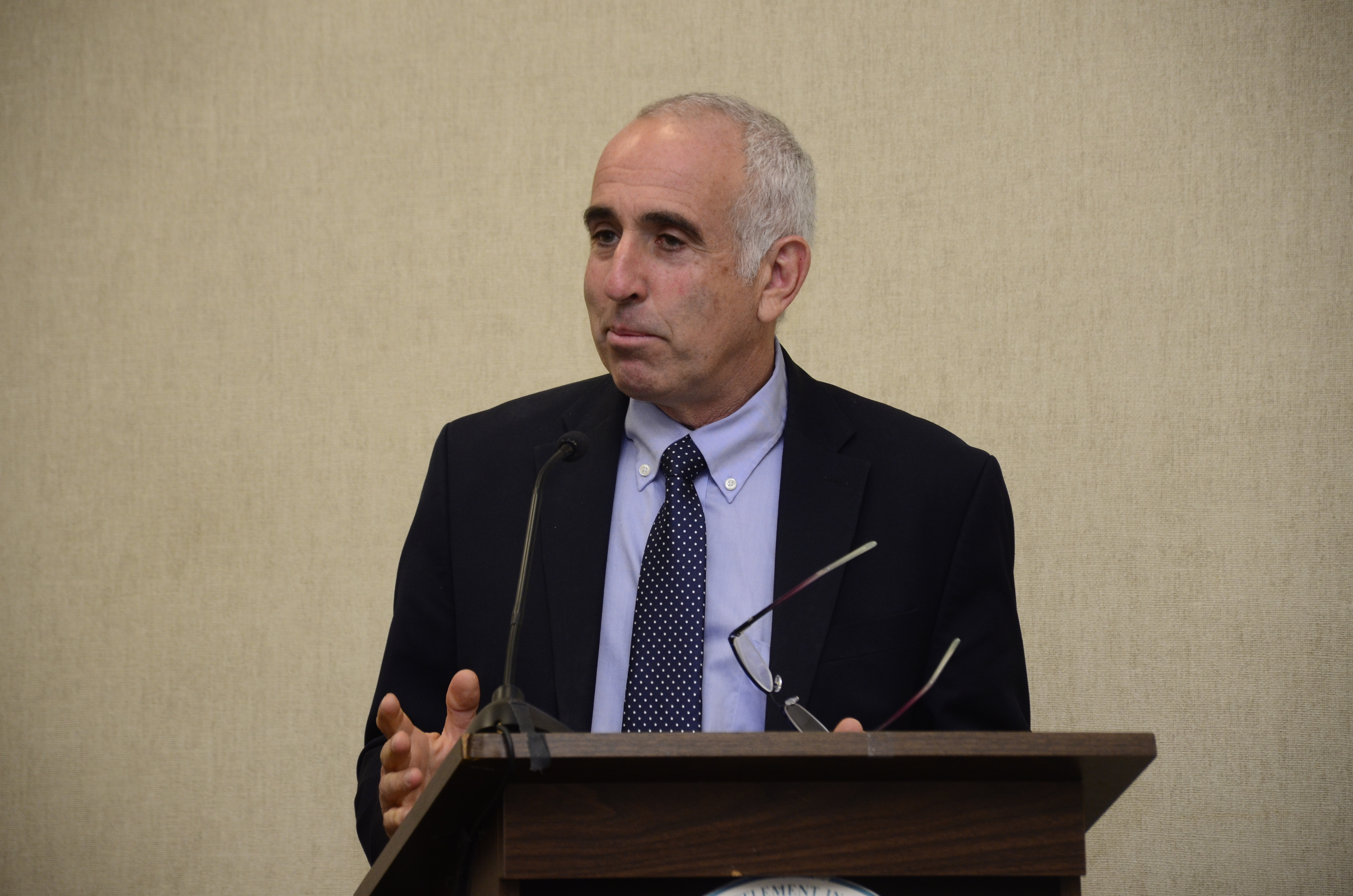 Southampton Town Supervisor Jay Schneiderman presented the 2020 budget to the other board members on Thursday morning. GREG WEHNER