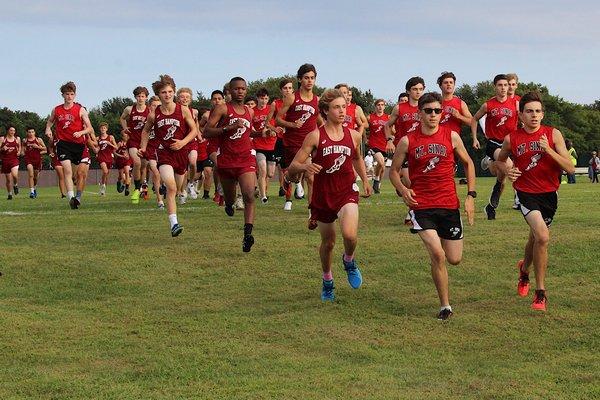 East Hampton and Mount Sinai boys take off at East Hampton High School on September 10.