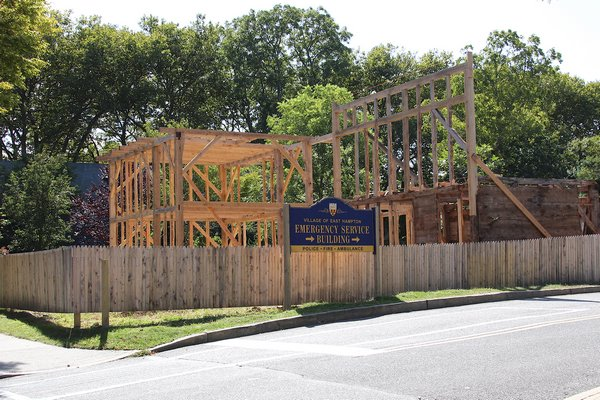 The Dominy shop is being rebuilt on North Main Street in East Hampton.   KYRIL BROMLEY