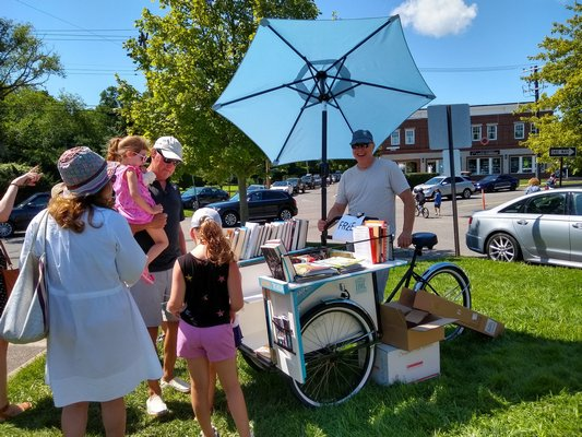 John Jermain Memorial Library introduced the book bike at last Saturday's farmer's market in Sag Harbor.