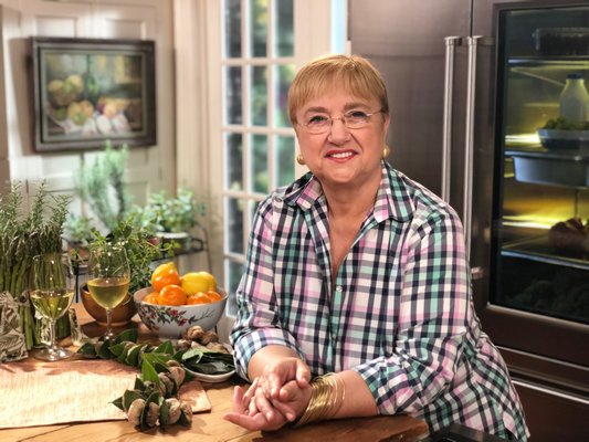 Lidia Bastianich on the set of her TV show. On September 14, Bastianich will be the keynot speaker at the fifth annual Food Lab Conference at Stony Brook Southampton.