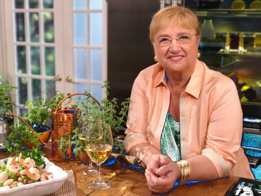 Lidia Bastianich on set the set of her television show.