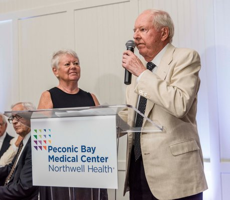 "Michael Corey and Emilie Corey at the Peconic Bay Medical Center's annual ""Benefit in Black & White"" held on Friday at the Westhampton Country Club. COURTESY PECONIC BAY MEDICAL CENTER"
