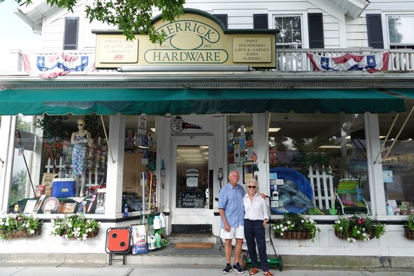 Noel Hare and Deborah Herrick Hare at Herrick Hardware on Main Street.   JULIA HALSEY