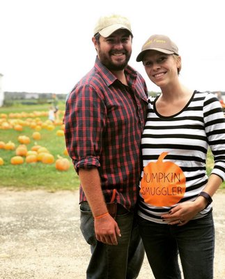 Nick Krupski and his wife, Rachel, last year before giving birth to their daughter.