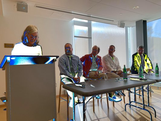 John Jermain Memorial Library Director Catherine Creedon leads a budget hearing and trustee forum on Monday.