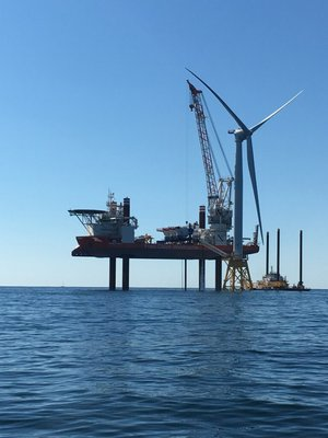 The Block Island Wind Farm during construction.
