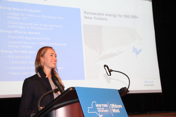 Jennifer Garvey of Orsted at last week's wind forum open house hosted by New York State.   MICHAEL WRIGHT