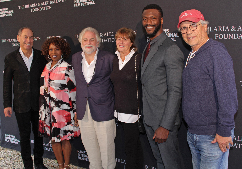 From left, Stuart Suna, actress Alfre Woodard, Randy Mastro, Linda Biscardi Fuller, actor Aldis Hodge and Joe Zuckerman at the festival.