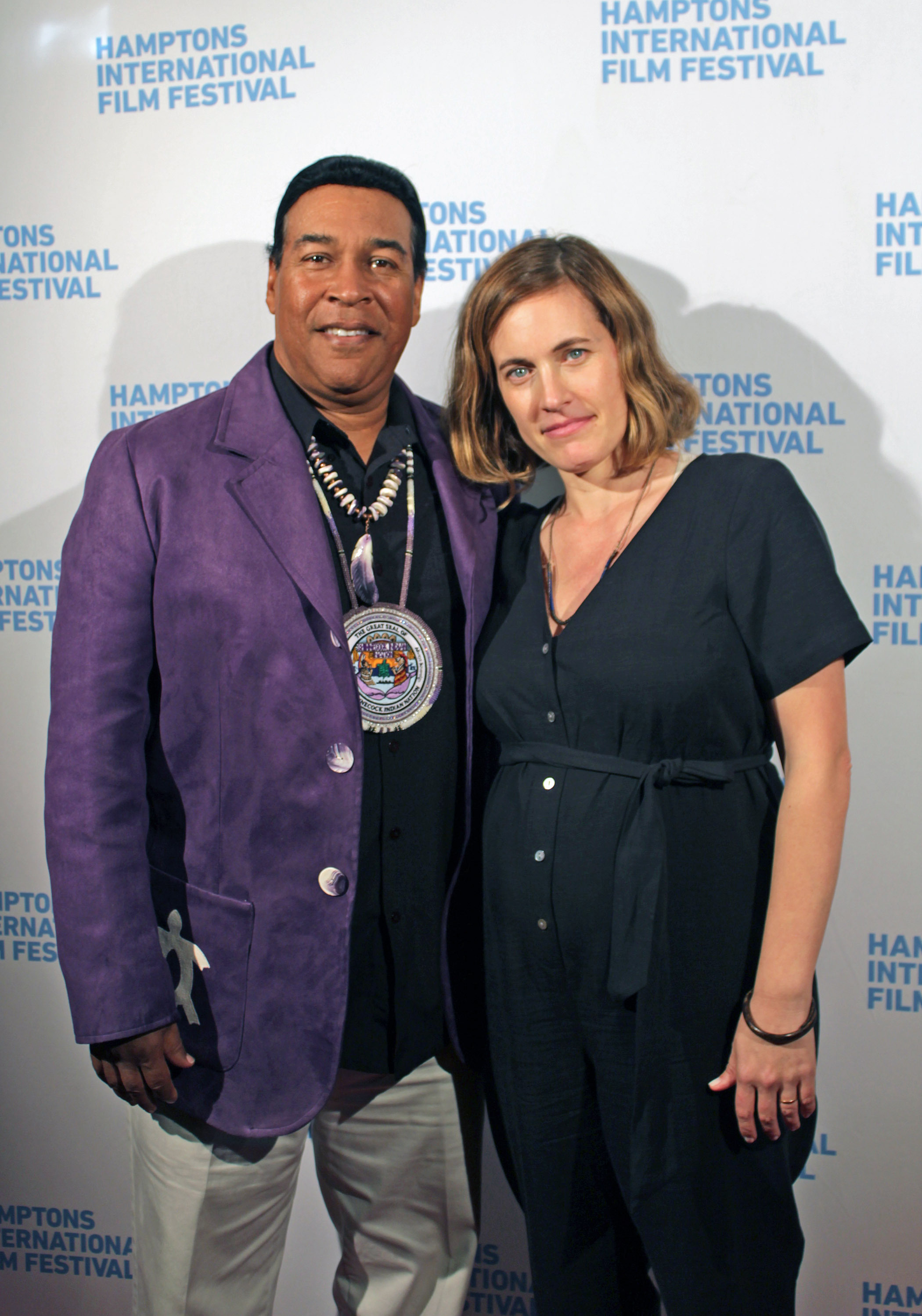 Shinnecock Nation member Lance Gumbs and filmmaker Treva Wurmfeld at a screening of her film