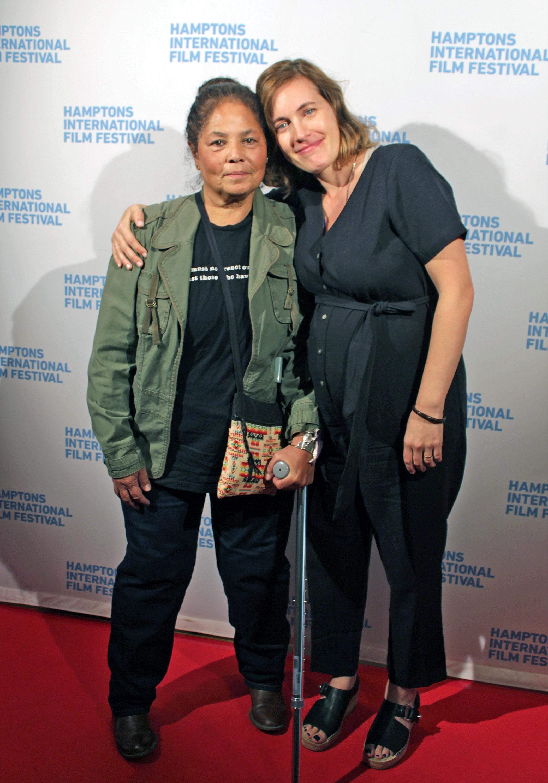 Shinnecock activist Rebecca Hill-Genia and filmmaker Treva Wurmfeld on the red carpet at a HIFF screening of Wurmfeld's documentary