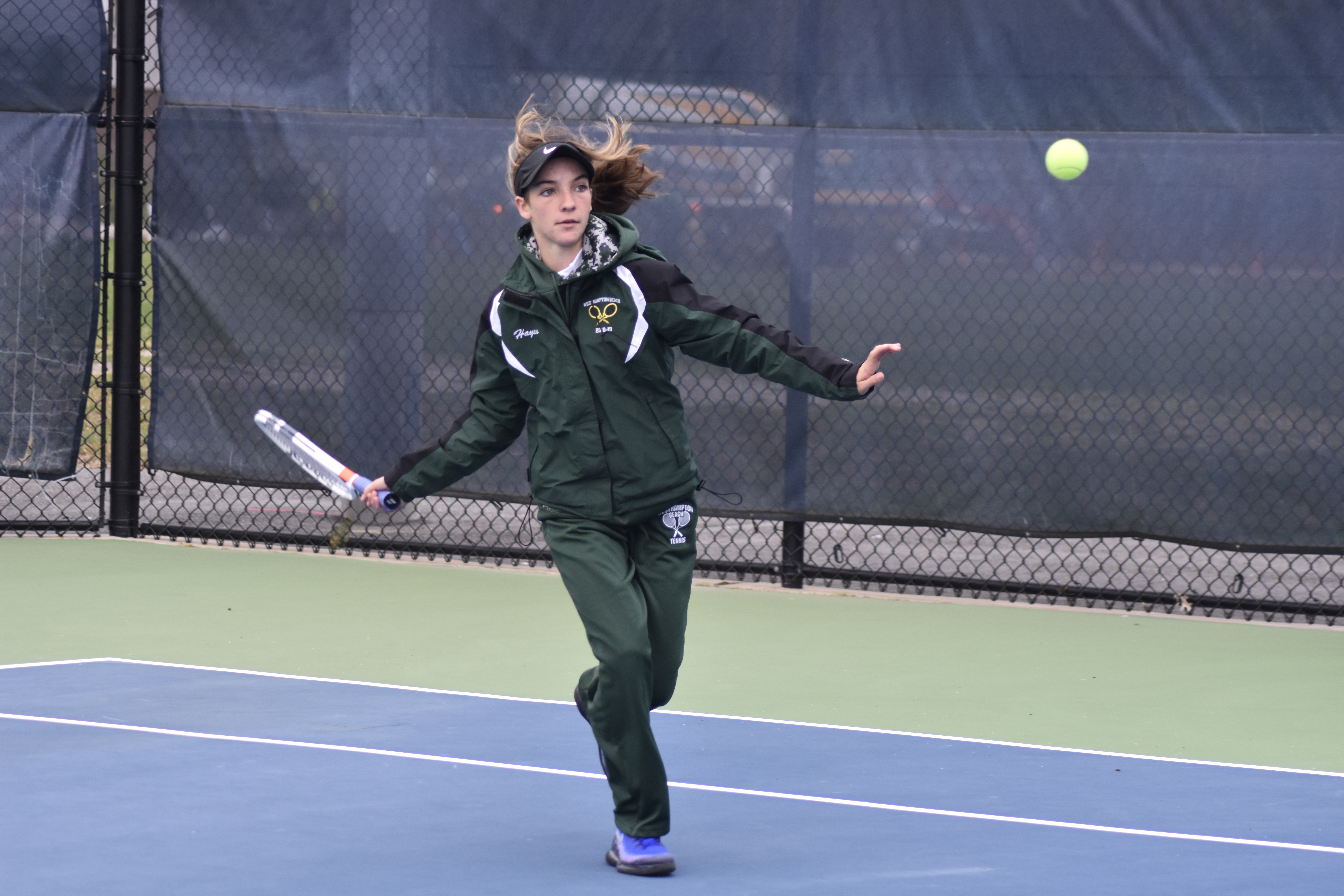 Westhampton Beach sophomore Rose Hayes won the Division IV singles title for the third consecutive year.