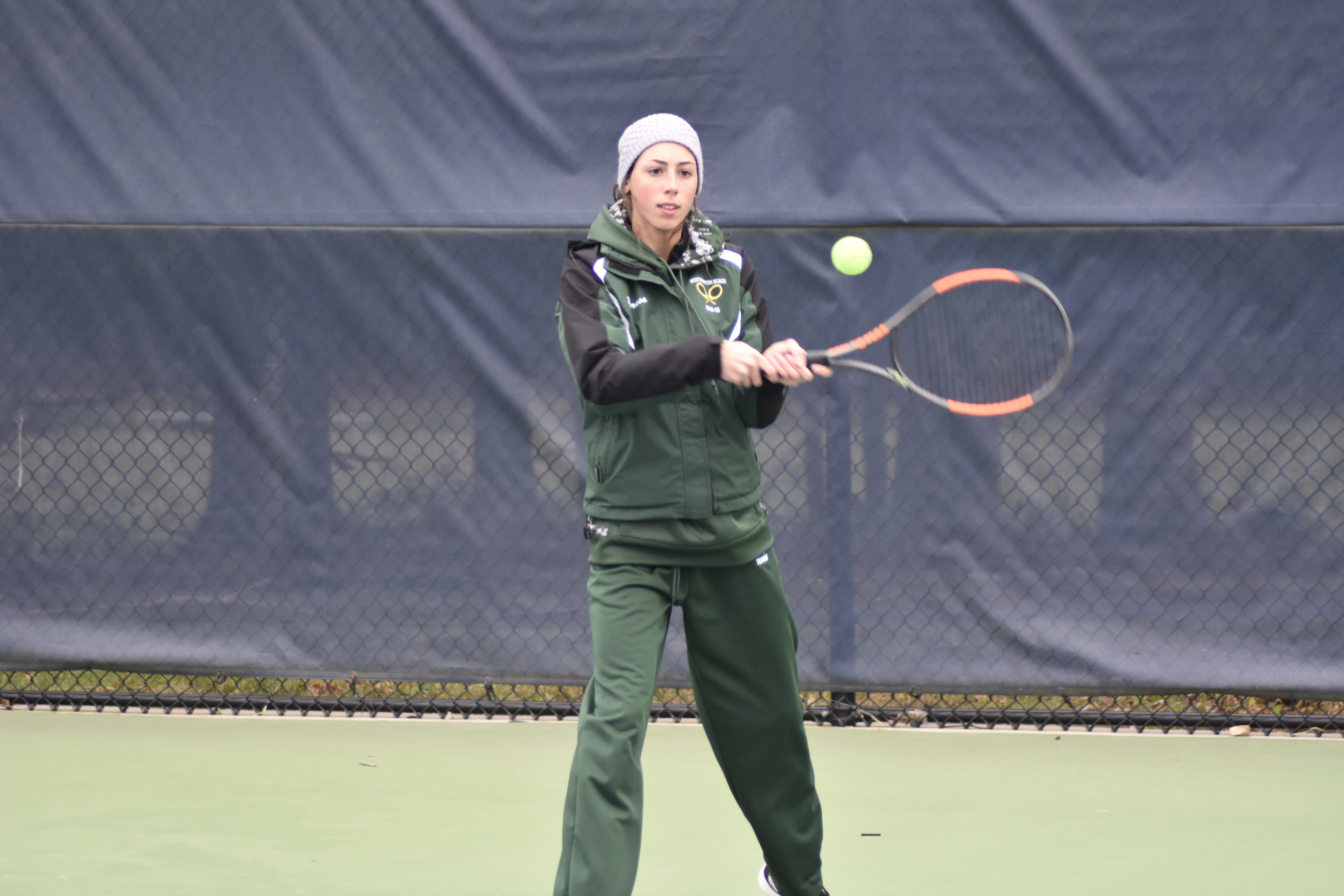 Rose Peruso, pictured, won the doubles title with teammate Jen Curran.