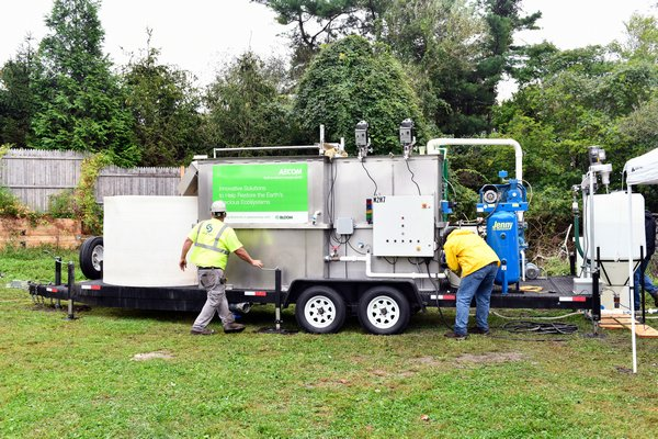 The portable water treatment system in Agawam Park.   DANA SHAW