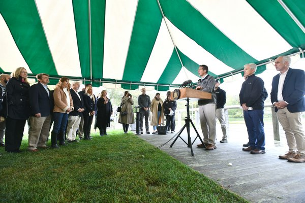 Governor Andrew Cuomo speaks at press conference in Agawam Park on Thursday.  DANA SHAW
