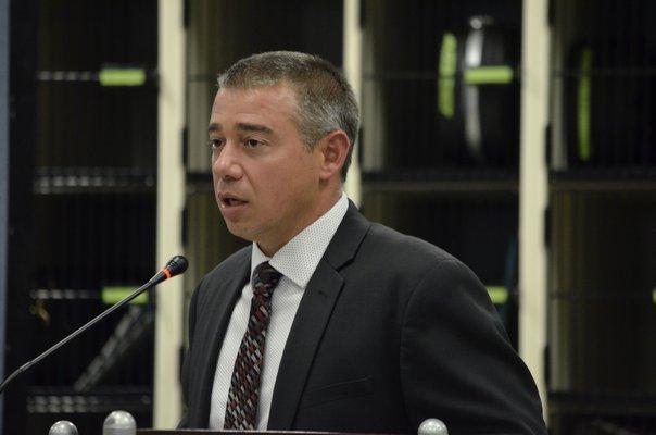 Southampton High School Principal Dr. Brian Zahn announcing the vaping forum to the school board on September 17. ANISAH ABDULLAH