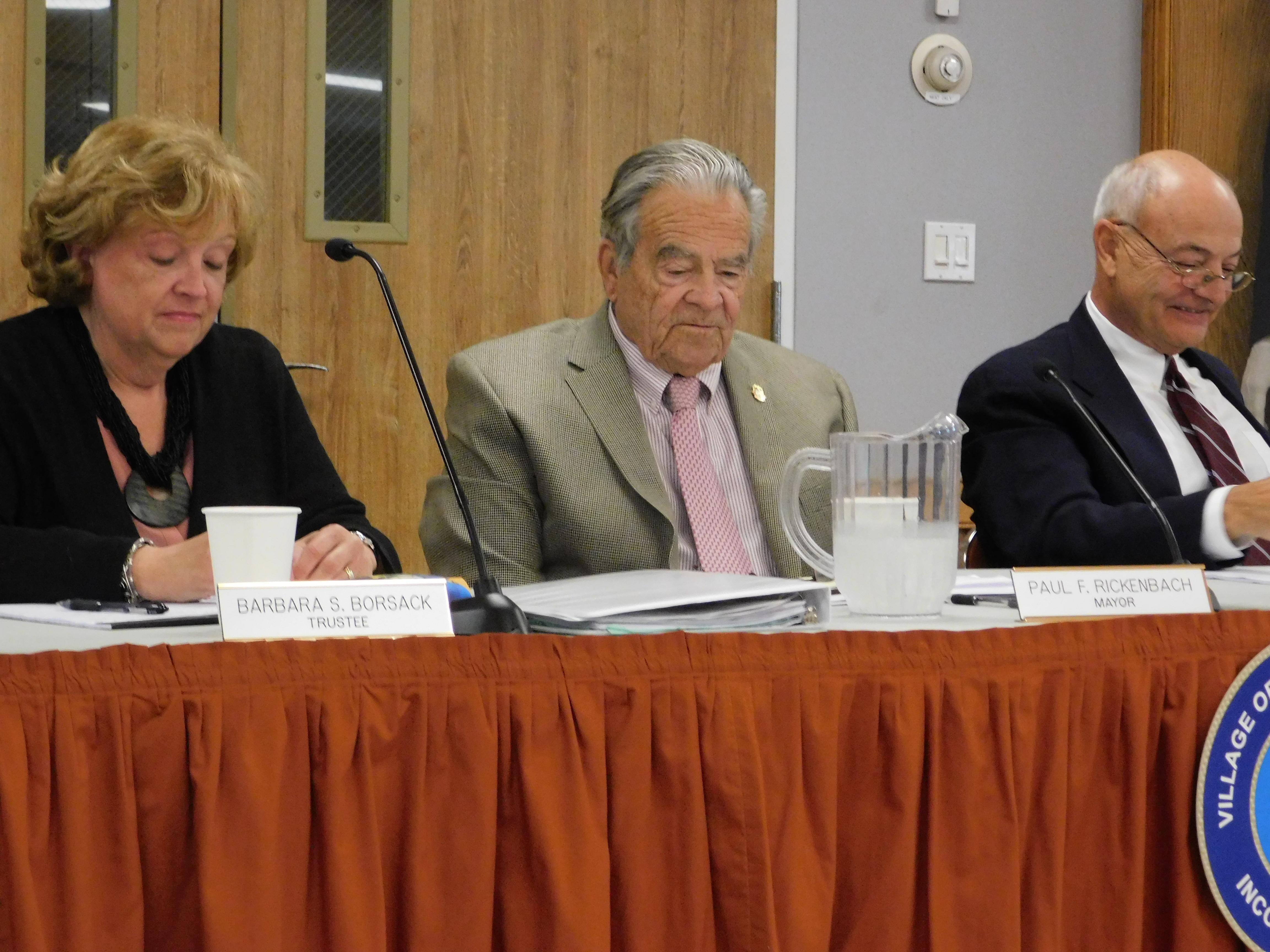 Barbara Borsack, Mayor Paul F. Rickenbach Jr, and Richard Lawler at a recent Village Board meeting. ELIZABETH VESPE
