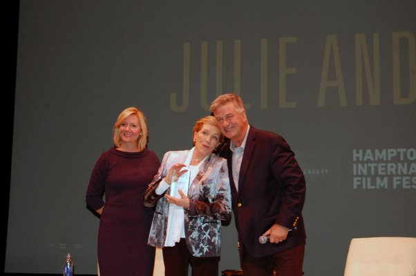 HIFF executive director Anne Chaisson, left, with Julie Andrews and Alec Baldwin, HIFF's board co-chair.